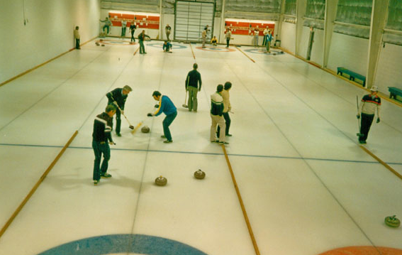 This photo, taken in February of 1987, shows the first Men's bonspiel held in Chestermere. (Photo courtesy of the Chestermere Curling Club)