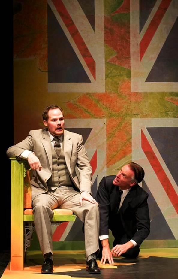 Karl Sine (as Edward) and Steve Waldschmidt (as Godfrey) bicker during one of their many humorous scenes. Queen Milli of Galt wraps up in Rosebud on Oct. 22.