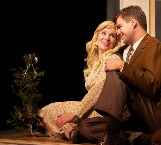 """Schramm and Krogram share a tender moment during rehearsals for """"The Gifts of the Magi"""", Rosebud's Christmas play which opened Nov. 4."""