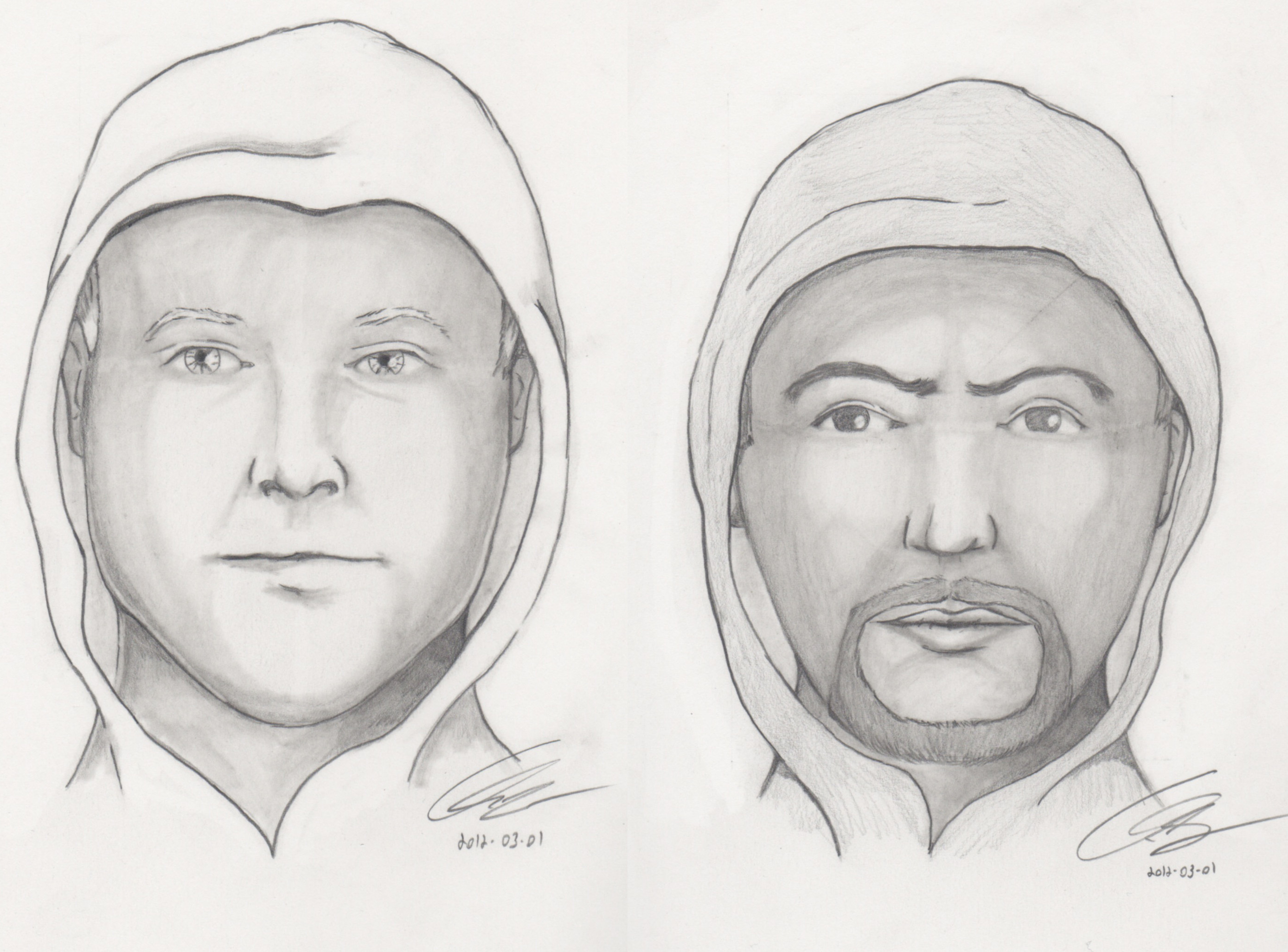 drawings of the suspects involved