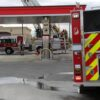 Fire trucks at the Petro Canada gas station