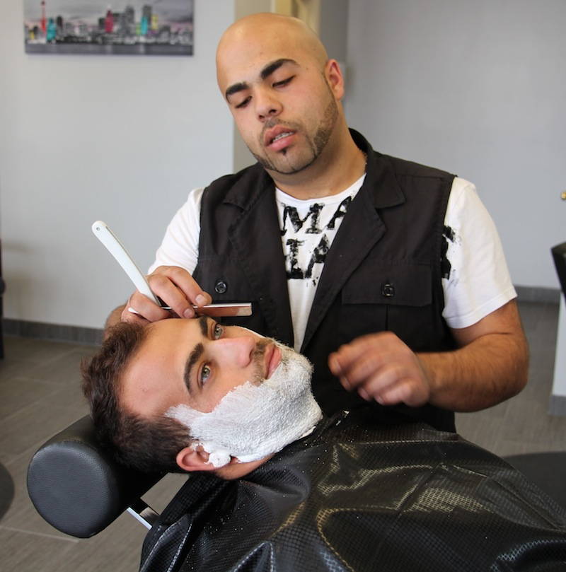 Kaz has razor in hand to begin the straight razor shave