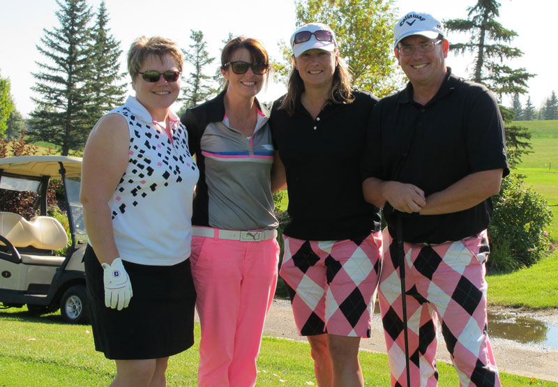 L to R- Sonya Bouvier, Lite 95 morning co-host Billie Jo Ross, Crystal Clay and Les Turner play in the Camp Quality Golf Tournament at Lakeside Golf Club