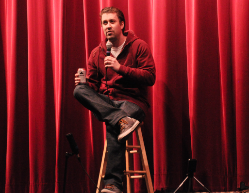 Comedy performer at Chesteremere High fundraiser