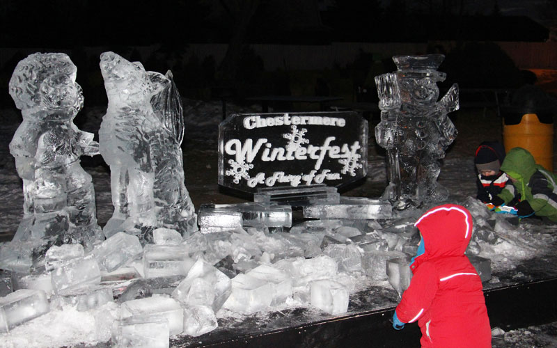 Chesteremere Winterfest ice sculptures